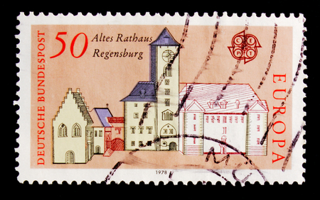 MOSCOW, RUSSIA - OCTOBER 21, 2017: A stamp printed in Germany Federal Republic shows Old Town Hall Regensburg, Europa (C.E.P.T.) 1978 - Architecture serie, circa 1978