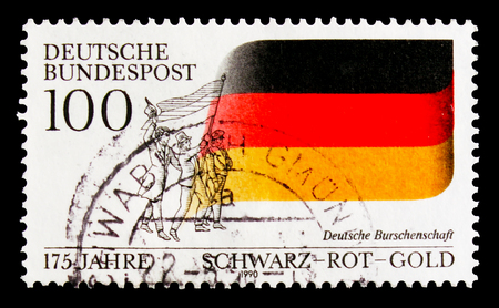 MOSCOW, RUSSIA - OCTOBER 3, 2017: A stamp printed in Germany Federal Republic shows Students union, 175th Anniversary of German Students Fraternity serie, circa 1990