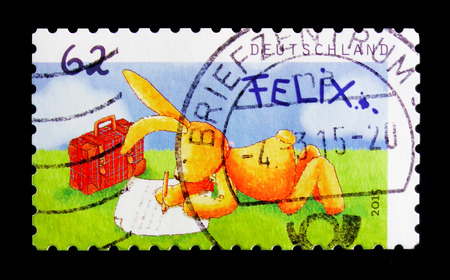MOSCOW, RUSSIA - OCTOBER 21, 2017: A stamp printed in German Federal Republic shows Post by Felix, serie, circa 2015