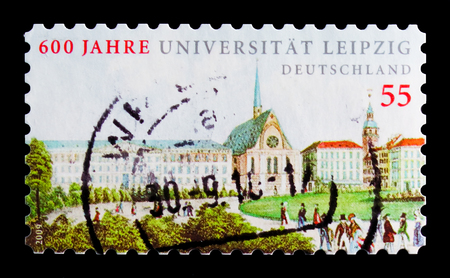 MOSCOW, RUSSIA - OCTOBER 21, 2017: A stamp printed in German Federal republic shows Leipzig University, 600th Anniversary, serie, circa 2009 Editorial