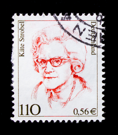 MOSCOW, RUSSIA - OCTOBER 21, 2017: A stamp printed in German Federal republic shows Kate Strobel (1907-1996), politician, Women in German History serie, circa 2000