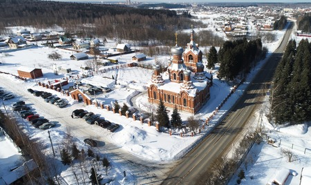 Aerial view of the Exaltation of the Holy cross Church in Darna village, Russia 스톡 콘텐츠