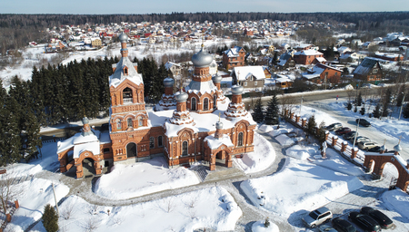 Aerial view of the Exaltation of the Holy cross Church in Darna village, Moscow region, Russia