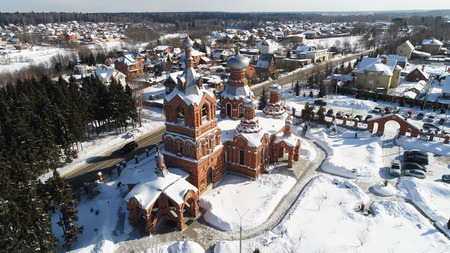 Aerial view of Church of the Exaltation of the Holy cross in Darna village, Moscow region, Russia