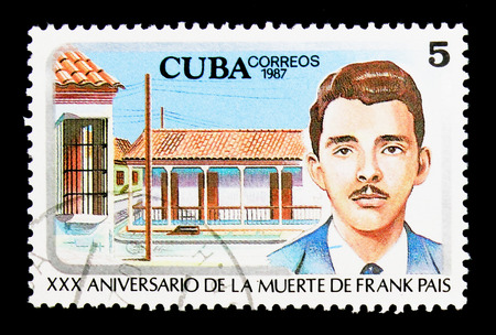 MOSCOW, RUSSIA - NOVEMBER 25, 2017: A stamp printed in Cuba shows Frank Pais (1934-1958) student leader, Rafael Maria Mendive, 30th Anniversary serie, circa 1987