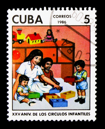 MOSCOW, RUSSIA - NOVEMBER 25, 2017: A stamp printed in Cuba shows Kindergartens, 25th anniversary serie, circa 1986