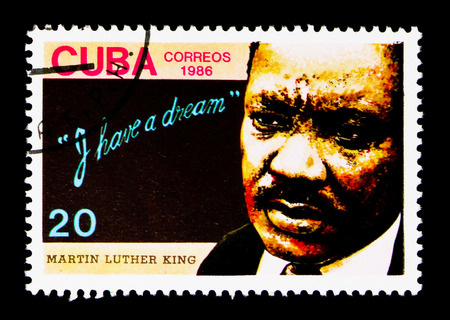 MOSCOW, RUSSIA - NOVEMBER 25, 2017: A stamp printed in Cuba shows portrait of Martin Luther King, serie, circa 1986