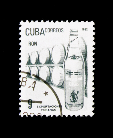 MOSCOW, RUSSIA - NOVEMBER 25, 2017: A stamp printed in Cuba shows Rum, Exports serie, circa 1982