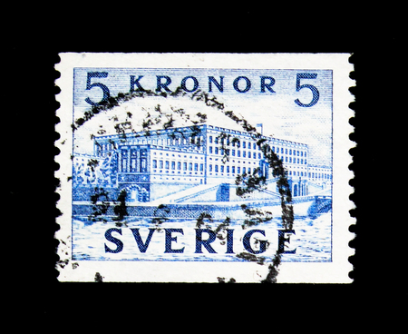 MOSCOW, RUSSIA - NOVEMBER 24, 2017: A stamp printed in Sweden shows The Royal Palace, Stockholm, serie, circa 1958 Editorial