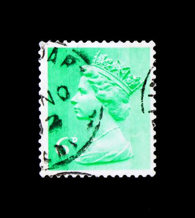 MOSCOW, RUSSIA - NOVEMBER 24, 2017: A stamp printed in Great Britain shows Queen Elizabeth II - Decimal Machin, serie, circa 1971