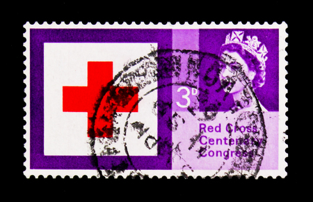 MOSCOW, RUSSIA - NOVEMBER 24, 2017: A stamp printed in Great Britain shows Red Cross 3d. (phosphor), Centenary Congress serie, circa 1963
