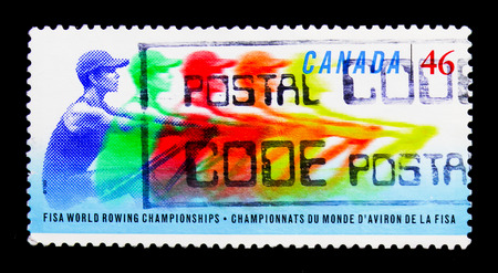 MOSCOW, RUSSIA - NOVEMBER 24, 2017: A stamp printed in Canada shows FISA World Rowing Championships, serie, circa 1999