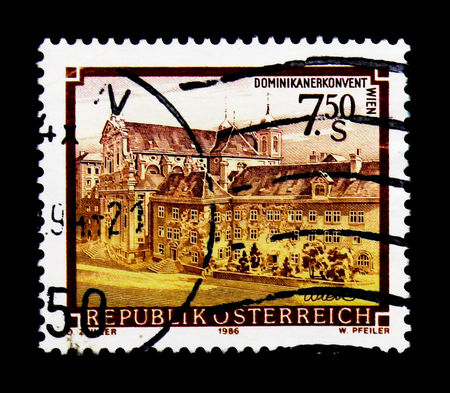 MOSCOW, RUSSIA - NOVEMBER 24, 2017: A stamp printed in Austria shows Dominican Abbey, Vienna, Monasteries and Abbeys serie, circa 1986