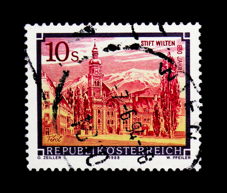 MOSCOW, RUSSIA - NOVEMBER 24, 2017: A stamp printed in Austria shows Wilten Abbey, Monasteries and Abbeys serie, circa 1988