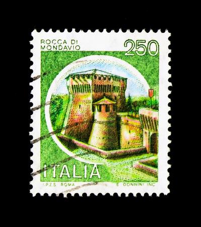 MOSCOW, RUSSIA - NOVEMBER 24, 2017: A stamp printed in Italy shows Castle - Mondavio, serie, circa 1980 Editorial