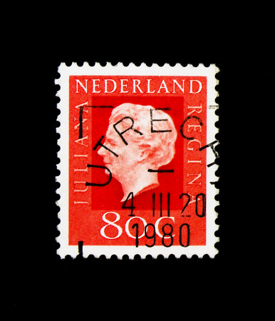 MOSCOW, RUSSIA - NOVEMBER 24, 2017: A stamp printed in Netherlands shows Queen Juliana (1909-2004), Type Regina, serie, circa 1972