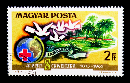 MOSCOW, RUSSIA - NOVEMBER 24, 2017: A stamp printed in Hungary shows Globe, Red Cross, carrier pidgeons, Doctor Albert Schweitzer serie, circa 1975 Editorial