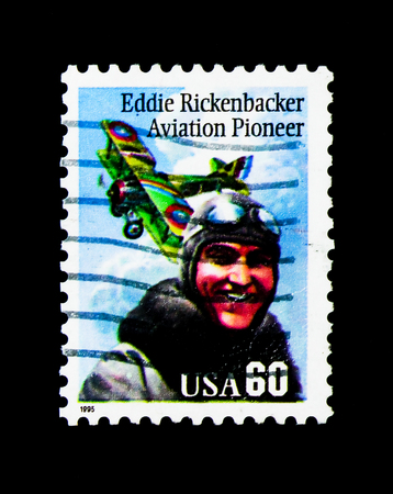 MOSCOW, RUSSIA - NOVEMBER 24, 2017: A stamp printed in USA shows Eddie Rickenbacker, serie, circa 1995