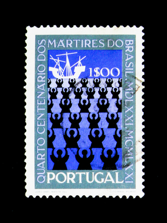MOSCOW, RUSSIA - NOVEMBER 24, 2017: A stamp printed in Portugal shows Missionaries and Ship, 400th Anniversary of Martyrdom of Brazil Missionaries serie, circa 1971