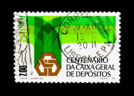 MOSCOW, RUSSIA - NOVEMBER 24, 2017: A stamp printed in Portugal shows National Trust Fund Bank, serie, circa 1976