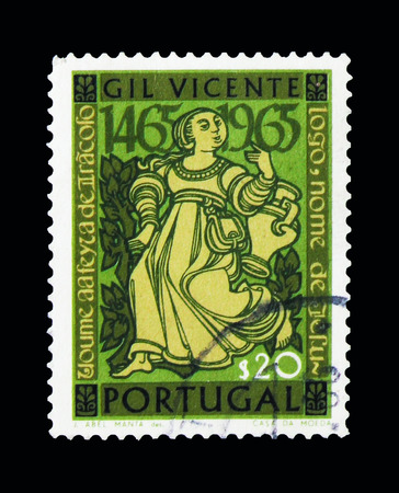MOSCOW, RUSSIA - NOVEMBER 24, 2017: A stamp printed in Portugal shows Figures from Gil Vincente's Theatre Plays, 500th Birthday serie, circa 1965