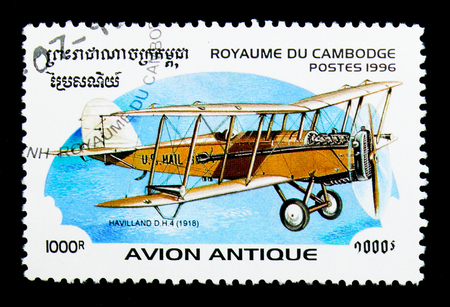 MOSCOW, RUSSIA - NOVEMBER 24, 2017: A stamp printed in Cambodia shows Havilland D.H.4, 1918, Early aircrafts serie, circa 1996 Editorial
