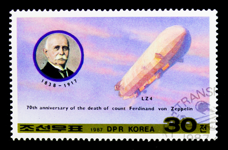 MOSCOW, RUSSIA - NOVEMBER 24, 2017: A stamp printed in Democratic Peoples republic of Korea shows Count Ferdinand von Zeppelin (70th death anniversary), Transport serie, circa 1987
