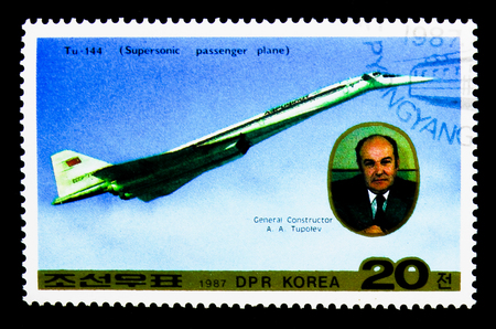 MOSCOW, RUSSIA - NOVEMBER 24, 2017: A stamp printed in Democratic Peoples republic of Korea shows Tu-144, Airplane serie, circa 1987