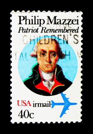 MOSCOW, RUSSIA - NOVEMBER 24, 2017: A stamp printed in USA shows Philip Mazzei (1730-1816), Italian-born Political Writer, serie, circa 1980 Editorial