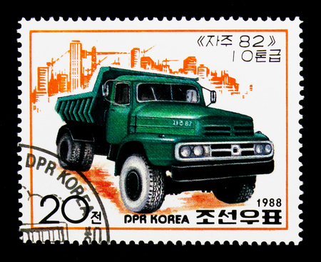 MOSCOW, RUSSIA - NOVEMBER 24, 2017: A stamp printed in Democratic People's republic of Korea shows Green truck, Trucks serie, circa 1988 Banque d'images - 104796761