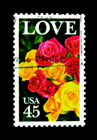 MOSCOW, RUSSIA - NOVEMBER 24, 2017: A stamp printed in USA shows Roses, Love Issue serie, circa 1988