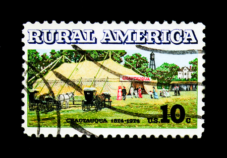 MOSCOW, RUSSIA - NOVEMBER 24, 2017: A stamp printed in USA shows Rural America - Chautauqua Tent and Buggies, serie, circa 1974