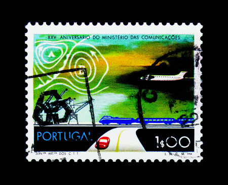 MOSCOW, RUSSIA - NOVEMBER 24, 2017: A stamp printed in Portugal shows Means of Transport on Land, Water and in the Air,  25th Anniversary of Ministry of Communications serie, circa 1973