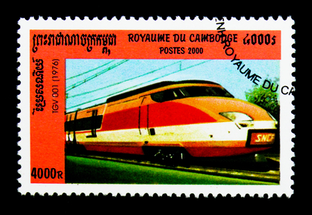 MOSCOW, RUSSIA - NOVEMBER 24, 2017: A stamp printed in Cambodia shows TGV 001 Locomotive, 1976, Locomotives serie, circa 2000