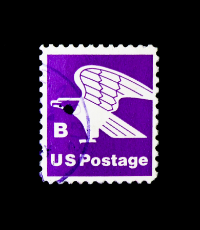 MOSCOW, RUSSIA - NOVEMBER 24, 2017: A stamp printed in USA shows Eagle, B postage service, 1975-1981 Regular Issue, circa 1975