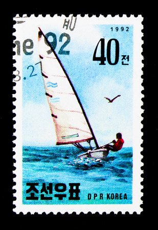 MOSCOW, RUSSIA - NOVEMBER 24, 2017: A stamp printed in Democratic Peoples republic of Korea shows Riccione boat racing, International Stamp Exhibition serie, circa 1992 Editorial