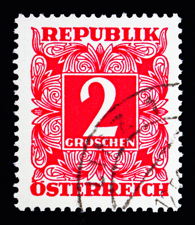 MOSCOW, RUSSIA - MAY 13, 2018: A stamp printed in Austria shows Digit in square frame, Postage Due (1949-1957) serie, circa 1950
