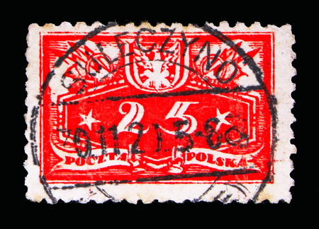 MOSCOW, RUSSIA - MAY 13, 2018: A stamp printed in Poland shows Face value below, Official stamps 1920 serie, circa 1920