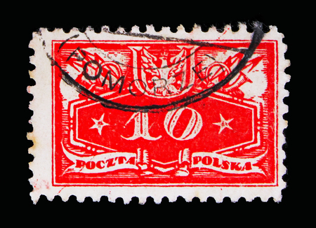 MOSCOW, RUSSIA - MAY 13, 2018: A stamp printed in Poland shows Face value below, Official stamps 1920 serie, circa 1920 Editorial