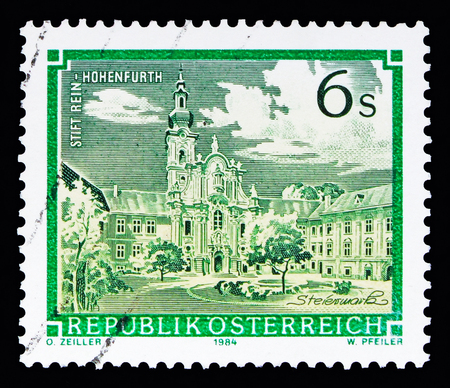 MOSCOW, RUSSIA - MAY 13, 2018: A stamp printed in Austria shows Rein-Hohenfurth Abbey, Monasteries and Abbeys serie, circa 1984
