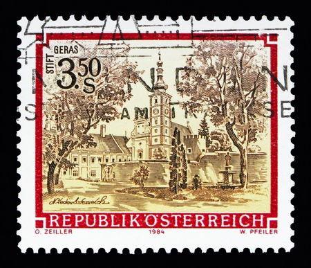 MOSCOW, RUSSIA - MAY 13, 2018: A stamp printed in Austria shows Premonstratensian monastery, Geras, Monasteries and Abbeys serie, circa 1984 Editorial
