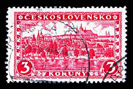 MOSCOW, RUSSIA - MAY 13, 2018: A stamp printed in Czechoslovakia shows Prague, Hradcany and Charles bridge, Castles, landscapes and cities serie, circa 1926