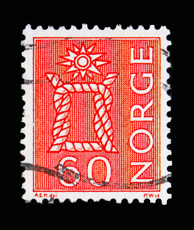 MOSCOW, RUSSIA - MAY 13, 2018: A stamp printed in Norway shows Knot, Local Motives, serie, circa 1967