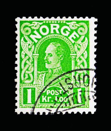 MOSCOW, RUSSIA - MAY 13, 2018: A stamp printed in Norway shows King Haakon VII, serie, circa 1909