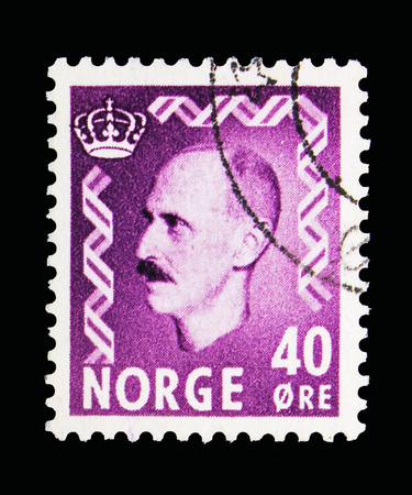 MOSCOW, RUSSIA - MAY 13, 2018: A stamp printed in Norway shows King Haakon VII, serie, circa 1955