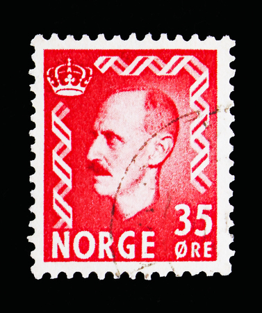 MOSCOW, RUSSIA - MAY 13, 2018: A stamp printed in Norway shows King Haakon VII, serie, circa 1956 Editorial