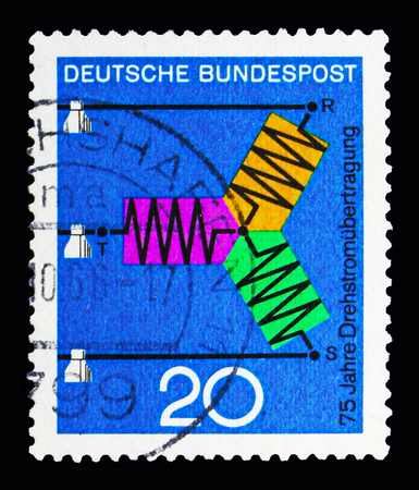 MOSCOW, RUSSIA - MAY 13, 2018: A stamp printed in Federal Republic of Germany shows Science and technic, Scientific Anniversaries (2nd series) serie, circa 1966