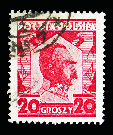 MOSCOW, RUSSIA - MAY 13, 2018: A stamp printed in Poland shows Marshal Pilsudski, serie, circa 1927 Editorial