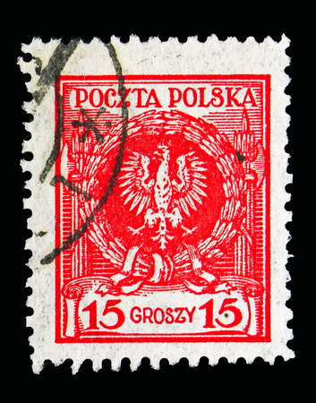 MOSCOW, RUSSIA - MAY 13, 2018: A stamp printed in Poland shows Arms of Poland, Eagle in Laurel Wreath serie, circa 1924