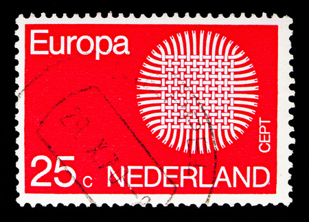 MOSCOW, RUSSIA - MAY 13, 2018: A stamp printed in Netherlands shows  Europa (C.E.P.T.) 1970 - Flaming Sun, serie, circa 1970